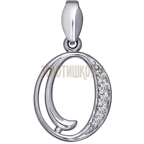Подвеска-буква из серебра с фианитами 94030458