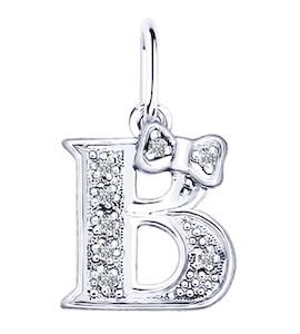 Серебряная подвеска-буква «В» 94030472