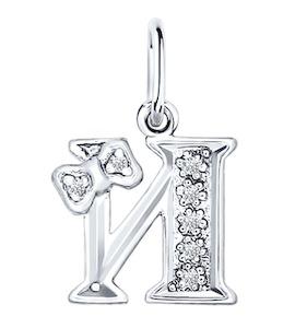Серебряная подвеска с буквой «И» 94030474