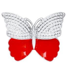 Брошь «Бабочка», украшенная красной эмалью и фианитами 94040057
