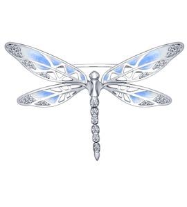 Брошь из серебра с эмалью с фианитами 94040127