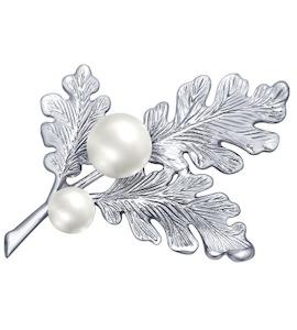 Брошь из серебра с жемчугом 94040132