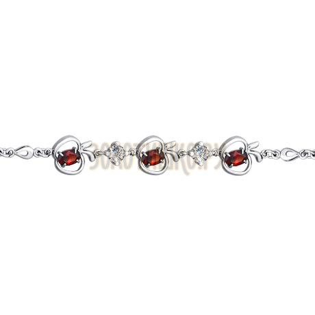 Браслет из серебра с красными фианитами 94050135