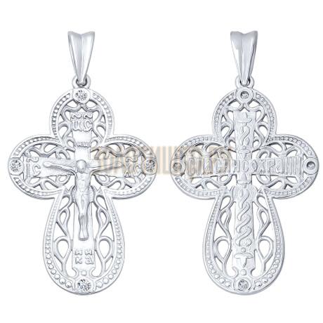 Крест из серебра с фианитами 94120008