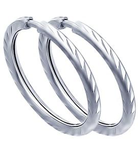 Серьги конго из серебра с алмазной гранью 94140069