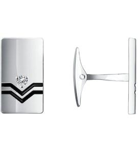 Запонки из серебра с эмалью с фианитами 94160011