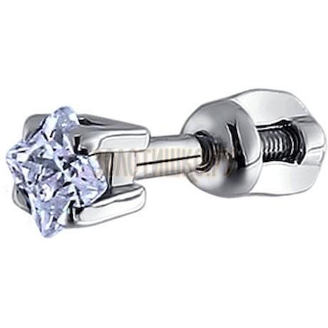 Серьги одиночные из серебра с фианитом 94170004