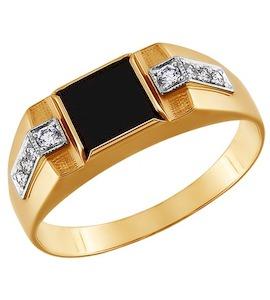 Золотое кольцо с фианитами и ониксом 010936