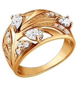 Золотое кольцо с фианитами 015418