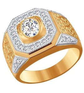 Золотое кольцо с фианитами 016133