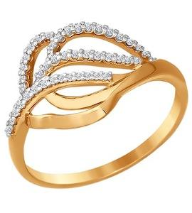 Золотое кольцо с фианитами 016499