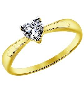 Золотое кольцо с фианитом 016949-2