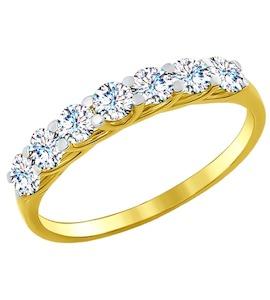Золотое кольцо с фианитами 017052-2