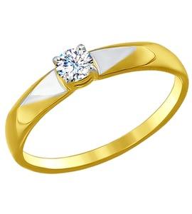 Золотое кольцо с фианитом 017131-2