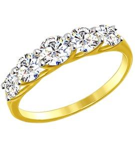 Золотое кольцо с фианитами 017146-2