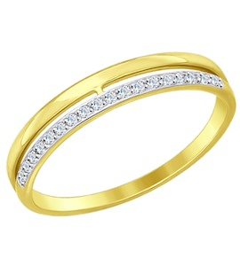 Золотое кольцо с фианитами 017151-2