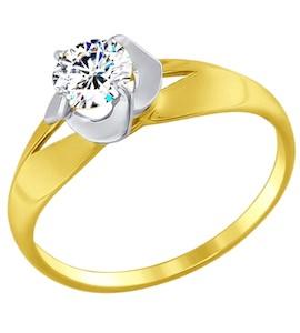 Золотое кольцо с фианитом 017396-2