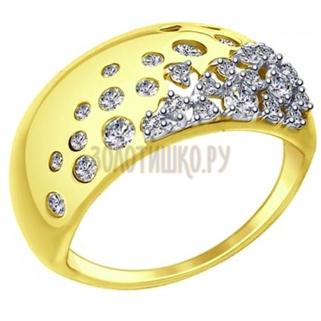 Золотое кольцо с фианитами 017411-2
