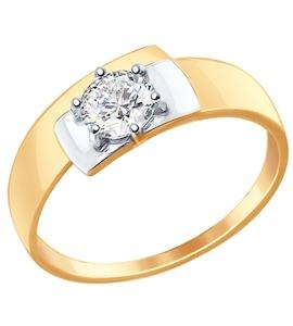 Золотое кольцо с фианитом 017412