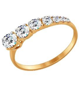 Золотое кольцо с фианитами 017442
