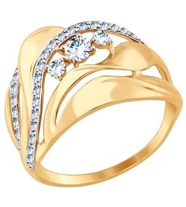 Золотое кольцо с фианитами 017501