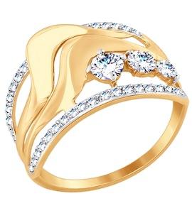 Золотое кольцо с фианитами 017505