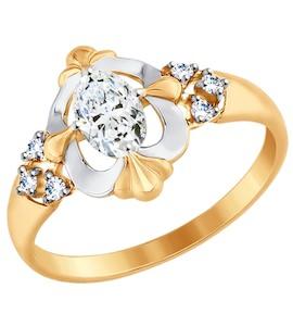 Золотое кольцо с фианитами 017509