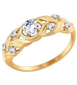 Золотое кольцо с фианитами 017528