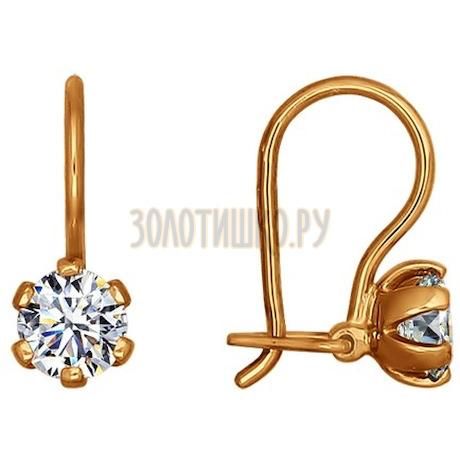 Золотые серьги с фианитами 024678