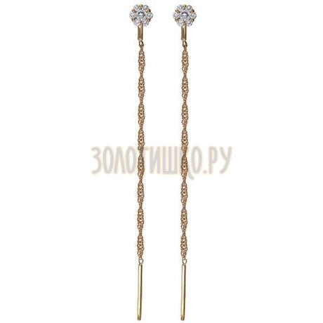 Золотые серьги с фианитами 025997