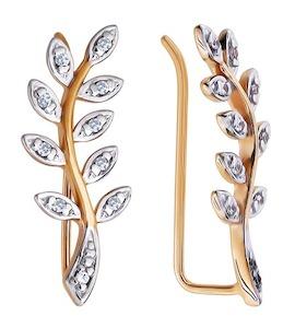Золотые серьги с фианитами 026267