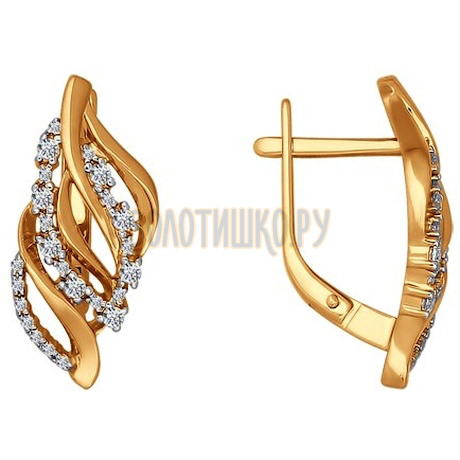 Золотые серьги с фианитами 026422