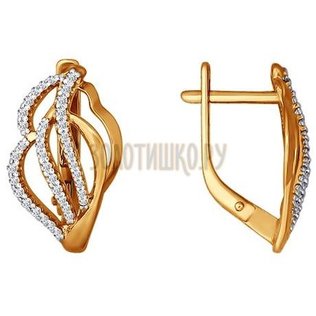 Золотые серьги с фианитами 026437