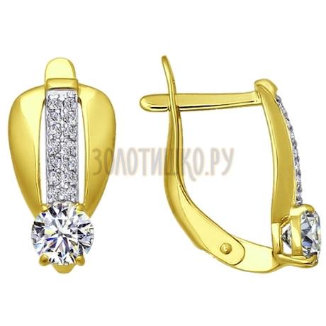 Золотые серьги с фианитами 026596-2