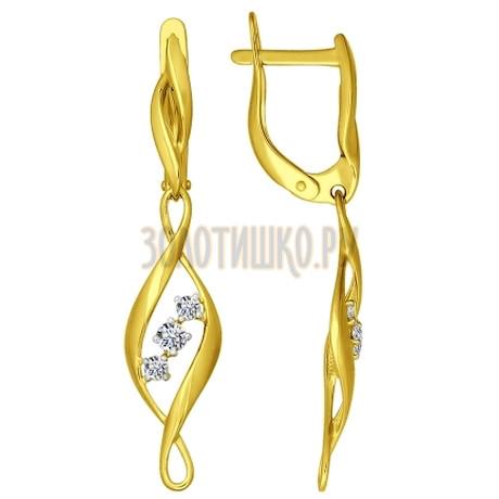 Золотые серьги с фианитами 026667-2