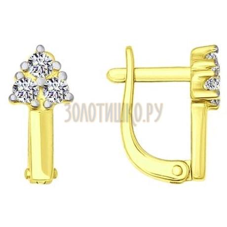 Золотые серьги с фианитами 026805-2