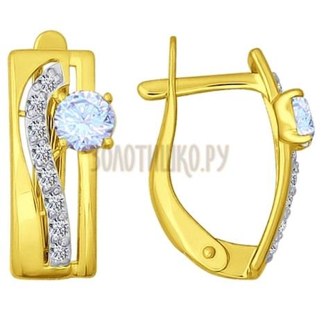 Золотые серьги с фианитами 026823-2