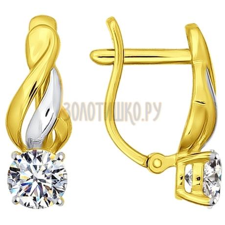 Золотые серьги с фианитами 026884-2