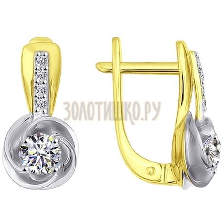 Золотые серьги с фианитами 026885-2