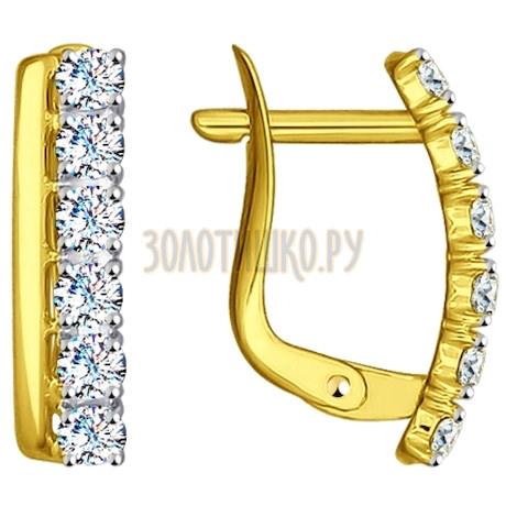 Золотые серьги с фианитами 027146-2
