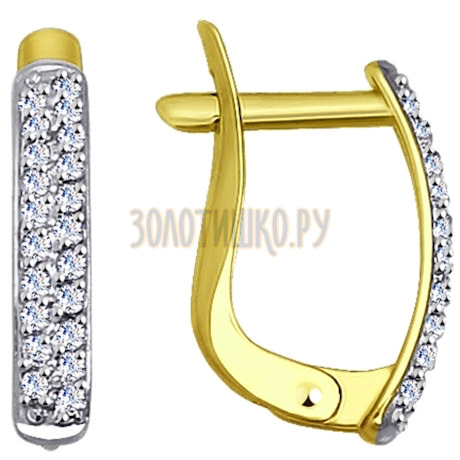 Золотые серьги с фианитами 027265-2