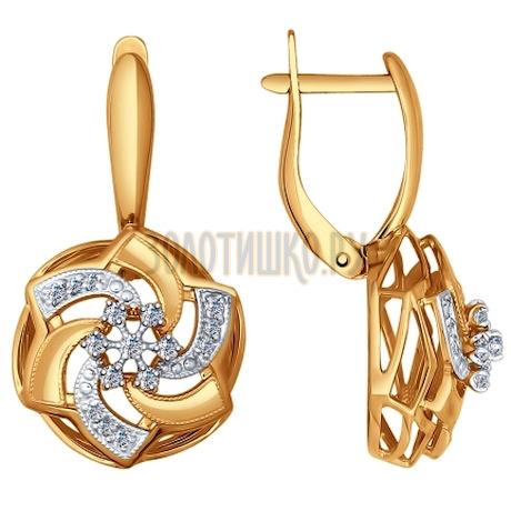 Золотые серьги с фианитами 027372