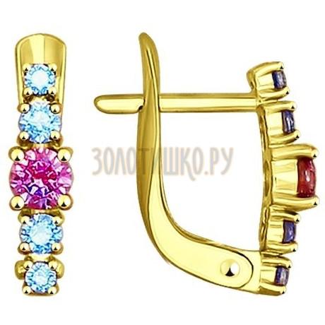 Золотые серьги с фианитами 027450-2