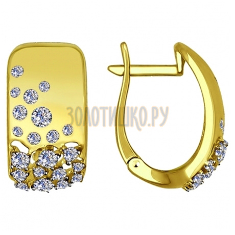 Золотые серьги с фианитами 027485-2