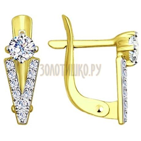 Золотые серьги с фианитами 027491-2