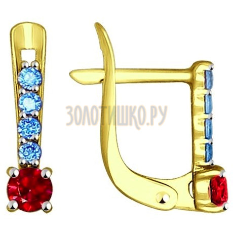 Золотые серьги с фианитами 027502-2