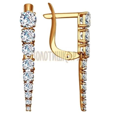 Золотые серьги с фианитами 027539