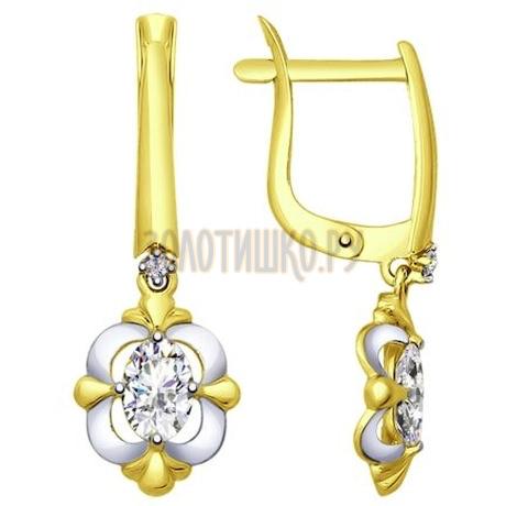 Золотые серьги с фианитами 027550-2