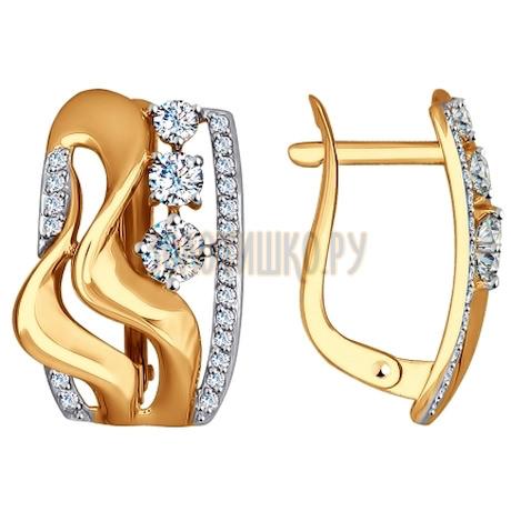 Золотые серьги с фианитами 027561