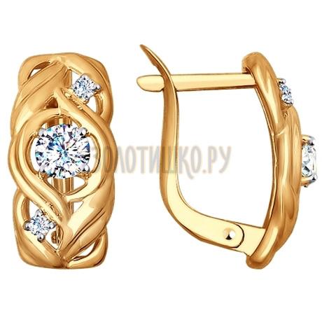 Золотые серьги с фианитами 027579